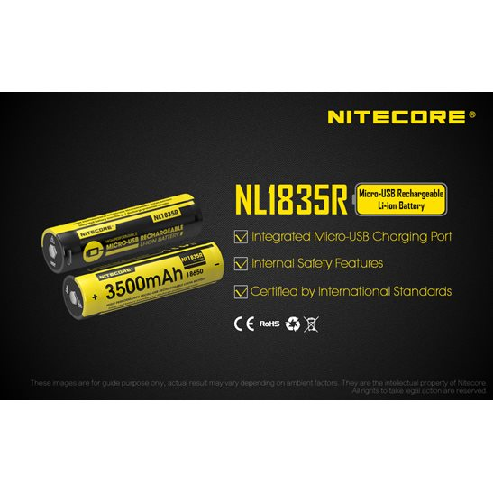 additional image for NL1835R Micro-USB 18650 3500mAh Li-ion Battery