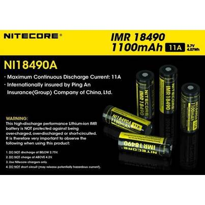 Nitecore Button Top IMR 18490 Battery 1100mAh NI18490A