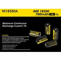 Button Top IMR 18350 Battery 700mAh NI18350A