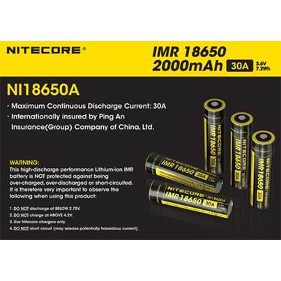 Nitecore Flat Top IMR 18650 Battery 2000mAh NI18650A
