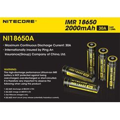 Flat Top IMR 18650 Battery 2000mAh NI18650A