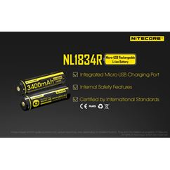 NL1834R Micro-USB 18650 3400mAh Li-ion Battery