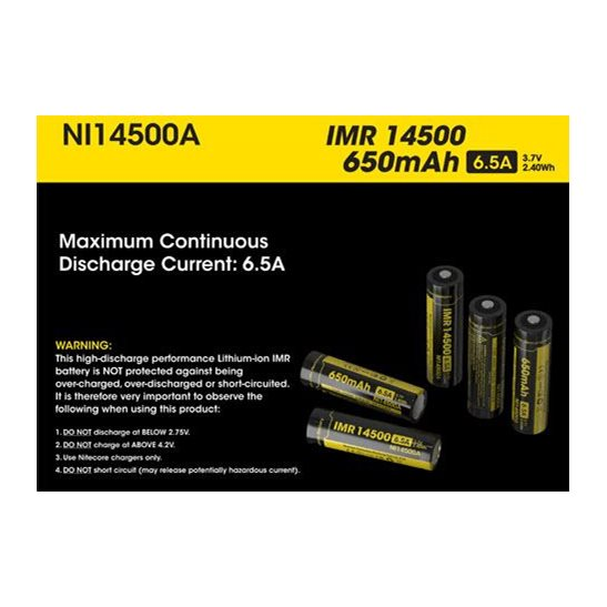 Nitecore Button Top IMR 14500 Battery 650mAh NI14500A
