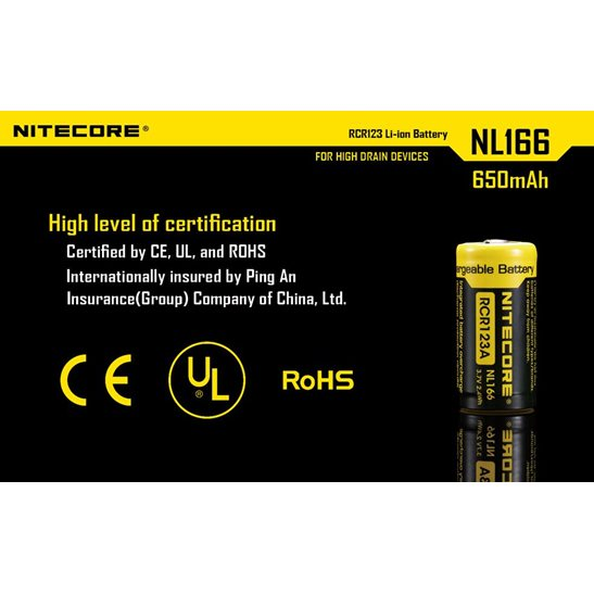 additional image for RCR123A Li-ion Battery (650mAh) NL166