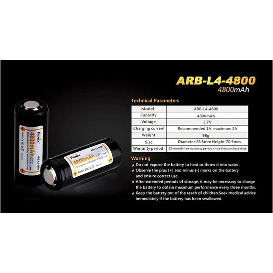 additional image for ARB-L4 26650 Li-ion Rechargeable Battery