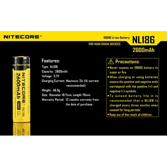 additional image for 18650 Li-ion Battery (2600mAh) NL1826