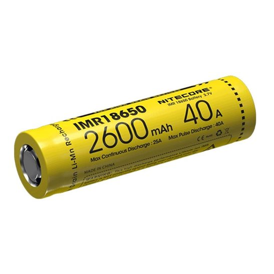 Nitecore Flat Top IMR 18650 Li-Mn Battery 2600mAh