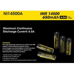 Button Top IMR 14500 Battery 650mAh NI14500A