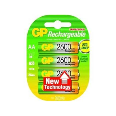 GP AA Ni-MH 2600mAh 1.2V Rechargeable Batteries - Pack of 4