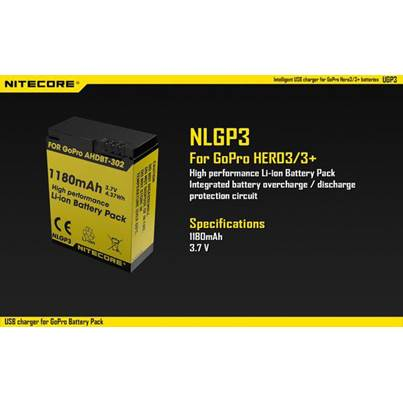 Nitecore NLGP3 Li-ion Battery for GoPro Camera